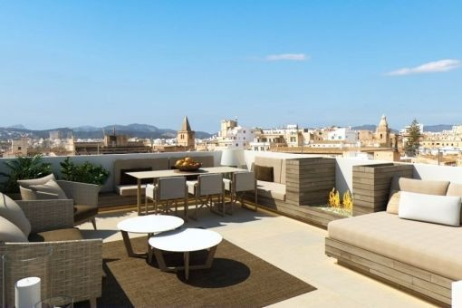 Brand new, wonderful penthouse project with outstanding views, roof terrace and lift in the old town of Palma.