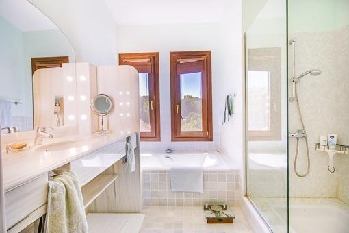 Modern bathroom with shower, bathtub and daylight