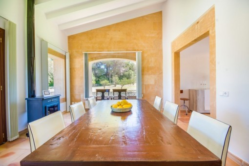 Spacious dining area with fireplace