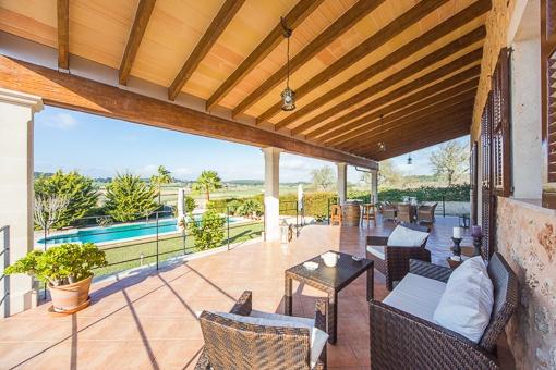 Terrace with unique pool views