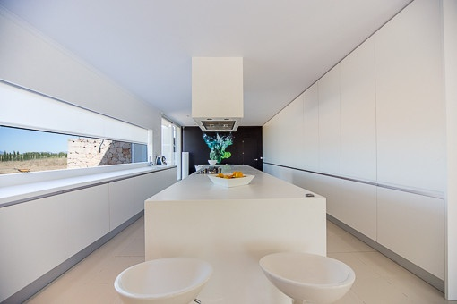 Kitchen with garden views