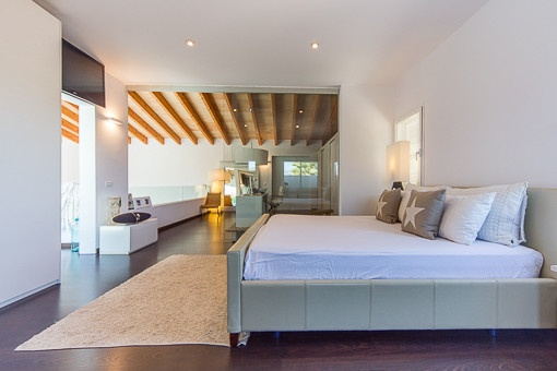 Bedroom with views to the office