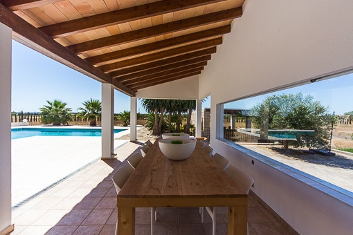 Idyllic covered terrace