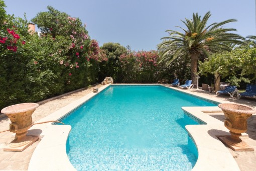 Well-tended pool area