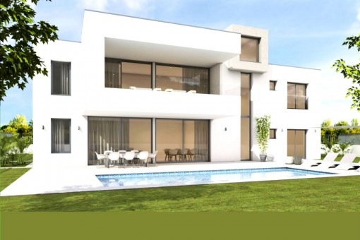 Minimalist newly-built villa on the first sea line close to Palma