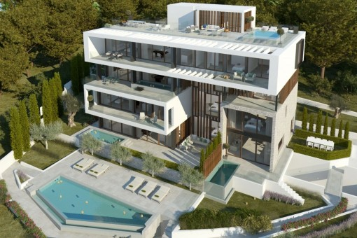 Newly-built ground floor luxury apartment with sea views in Ca's Catala