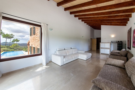 Living area with view of the pool