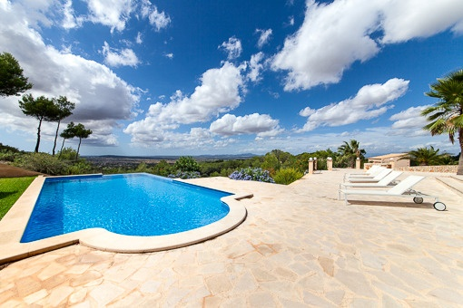 Sunny terraces beside the pool with fantastic view