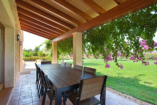 Exterior dining area on the covered terrace