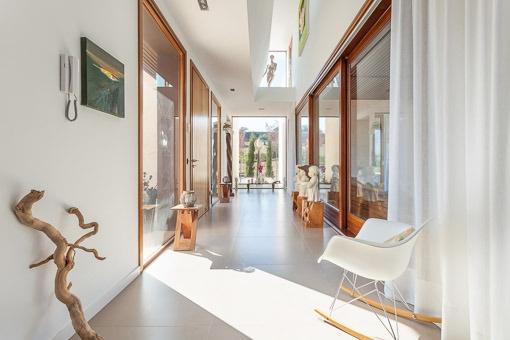 Bright corridor with panorama windows
