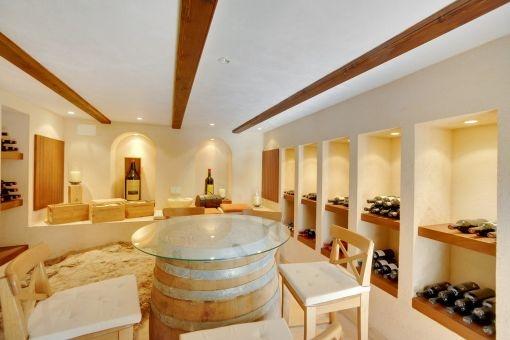 Bright wine cellar