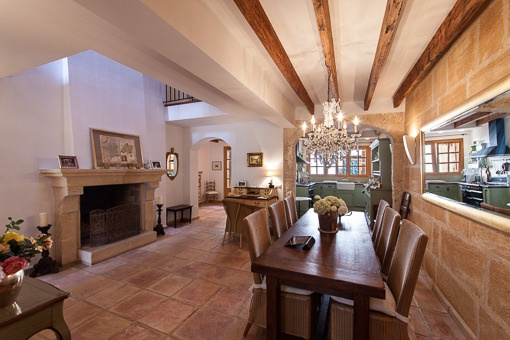 Cosy dining area with fireplace