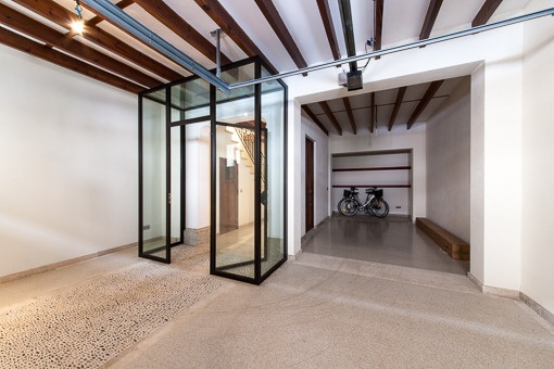 Modern entrance from the studio