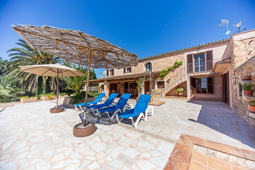 Sunny terraces with lounge area