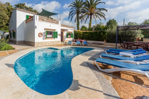 Private, villa-style finca with compact, well maintained grounds and pool near the village