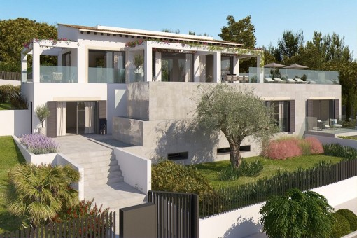 Building plot in Santa Ponsa including a building project for a modern villa with sea views