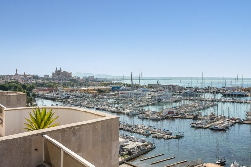 Spacious, bright penthouse in Palma with gigantic views of Palma, harbour, and the sea