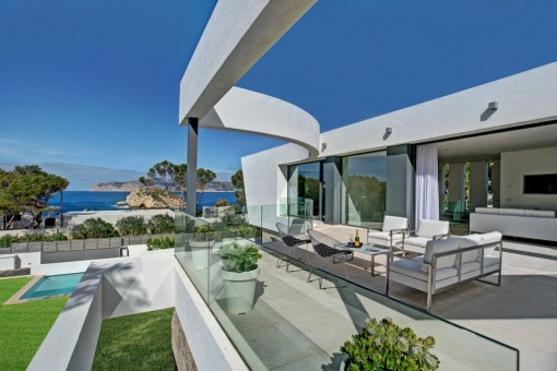 Luxurious villa in Santa Ponsa with modern architecture and fantastic views of the  Malgrats islands