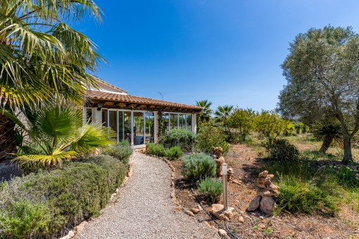 Idyllic finca with conservatory and spectacular sea views, surrounded by palm trees in Ses Salines