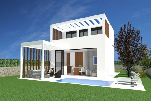 Modern bright villa with pool presently under construction in beautiful Cala Lombards